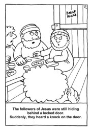 06_Colouring_Jesus_Alive: Art and craft; Art and craft book; Bible story; Black and white; BW; Coloring; Colouring; Line Art