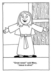07_Colouring_Jesus_Alive: Art and craft; Art and craft book; Bible story; Black and white; BW; Coloring; Colouring; Line Art