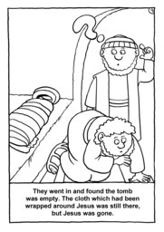 10_Colouring_Jesus_Alive: Art and craft; Art and craft book; Bible story; Black and white; BW; Coloring; Colouring; Line Art