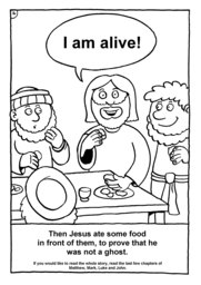 17_Colouring_Jesus_Alive: Art and craft; Art and craft book; Bible story; Black and white; BW; Coloring; Colouring; Line Art