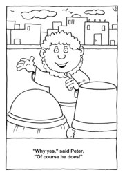 03_Colouring_Peter_Fish: Art and craft; Bible story; Black and white; BW; Coloring; Colouring; Line Art