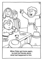 13_Colouring_Peter_Fish: Art and craft; Bible story; Black and white; BW; Coloring; Colouring; Line Art