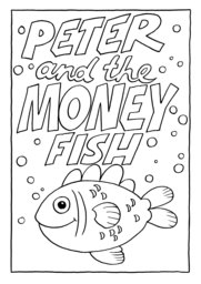 17_Colouring_Peter_Fish: Art and craft; Bible story; Black and white; BW; Coloring; Colouring; Line Art