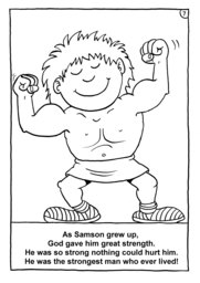 08_Colouring_Samson: Art and craft; Art and craft book; Bible story; BW; Coloring; Colouring; Line Art