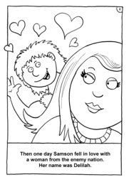 12_Colouring_Samson: Art and craft; Art and craft book; Bible story; BW; Coloring; Colouring; Line Art