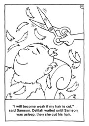 14_Colouring_Samson: Art and craft; Art and craft book; Bible story; BW; Coloring; Colouring; Line Art